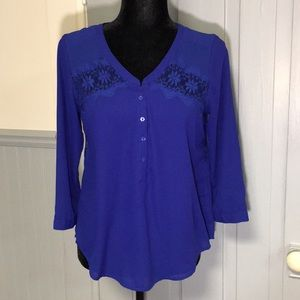 AEO Royal Blue Sheer Lace Panel Blouse